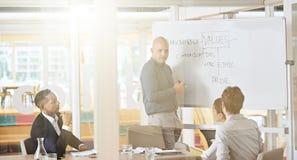 Gruppe Unternehmensleiter, die Firmenwerte im Konferenzsaal gedanklich lösen Stockfoto