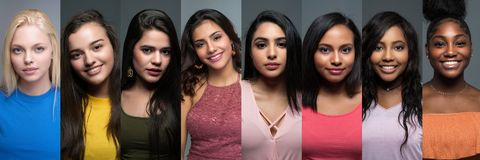 Gruppe verschiedene jugendlich Mädchen stockfotos