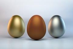 Gruppe von drei Eiern Stockbild