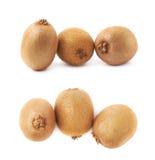Gruppe von drei Kiwifruits lokalisiert stockbild