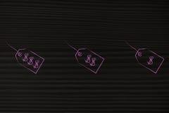 Gruppe von drei verschiedenen Preisen vom Luxus nach billig stock abbildung