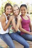 Gruppe von drei weiblichen Freunden, die Spaß zusammen haben Lizenzfreie Stockfotografie