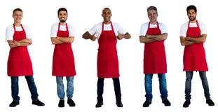 Gruppe von 5 kaukasisch und afrikanisch und lateinamerikanische Kellner lizenzfreies stockbild