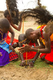 Gruppe von Kenyan des Masaistammes lizenzfreies stockbild