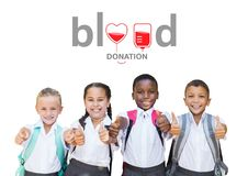 Gruppe von Kindern und von Blutspendenkonzept lizenzfreies stockbild