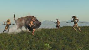 Gruppe von Neanderthal einen Bison jagend lizenzfreies stockbild