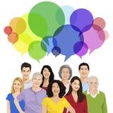 Gruppe von Peopl mit Sprache-Blase Stockbild