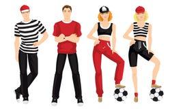 Gruppe von Personen in der Kleidung für Sport Stockbild