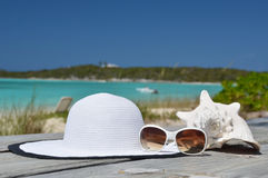 Gruppe von Personen, die auf dem Strand sich entspannt und ein Sonnenbad nimmt Lizenzfreie Stockbilder