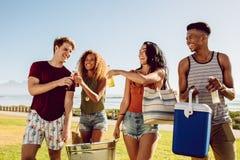 Gruppe von Personen, die auf Strandfest geht stockbild