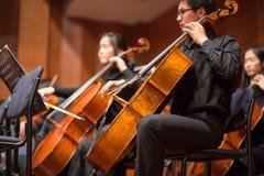 Gruppe von Personen, die in einem Konzert der klassischen Musik, Porzellan spielt Stockbild
