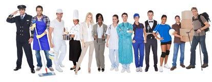 Gruppe von Personen, die verschiedene Berufe darstellt Lizenzfreies Stockbild