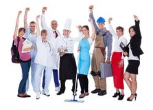 Gruppe von Personen, die verschiedene Berufe darstellt Lizenzfreie Stockbilder