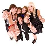 Gruppe von Personen im Kostüm mit dem Daumen oben. Stockbilder
