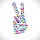 Gruppe von Personen machen Sieghandzeichen Stockfotos