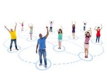 Gruppe von Personen mit Jugend-Netz Stockbild