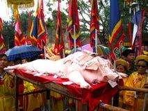 Gruppe von Personen in traditioneller Kostüm palanquin Prozession von h Stockfoto