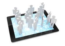 Gruppe von Personenen-Zahlen auf Tablet-PC Lizenzfreie Stockbilder