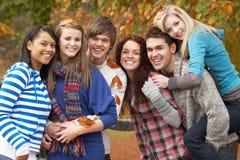 Gruppe von sechs Jugendfreunden, die Spaß haben Lizenzfreie Stockfotografie