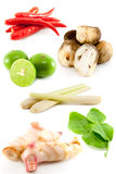 Gruppe von Tomyum (siamesische Nahrung) Lizenzfreies Stockfoto