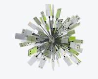 Gruppe von USB verkabelt die Formung eines Bereichs im grünen Licht Lizenzfreie Stockfotos