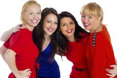 Gruppe von vier reizvoll, schöne junge glückliche Frauen Lokalisiert auf whi Stockfotografie
