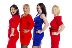 Gruppe von vier reizvoll, schöne junge glückliche Frauen Lokalisiert auf whi Stockfotos