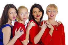 Gruppe von vier reizvoll, schöne junge glückliche Frauen Lokalisiert auf whi Lizenzfreie Stockfotos
