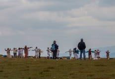 Gruppe weiße Bruderschaft, sieben Rila Seen in Bulgarien Stockfotos