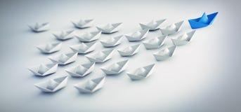 Gruppe weiße und blaue Papierboote - Illustration 3D vektor abbildung