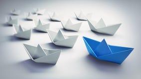 Gruppe weiße und blaue Papierboote - Illustration 3D lizenzfreie abbildung
