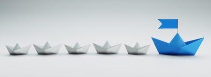 Gruppe weiße und blaue Papierboote - Illustration 3D stock abbildung