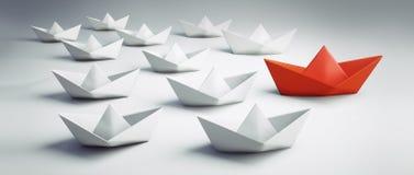 Gruppe weiße und rote Papierboote - Illustration 3D lizenzfreie abbildung