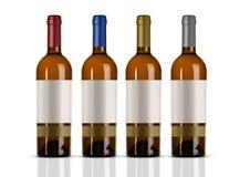 Gruppe Weißweinflaschen mit weißem Aufkleber Lizenzfreie Stockfotografie