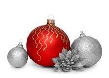 Gruppe Weihnachtsbälle lokalisiert auf weißem Hintergrund Lizenzfreie Stockbilder