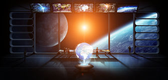 Gruppe Wissenschaftler, das Wiedergabe elem der Planetenerde beobachtend 3D Stockfotos