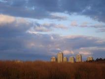 Gruppe Wohntürme in Bukarest, gesehen über Park im Sonnenunterganglicht Lizenzfreies Stockfoto