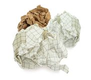 Gruppe zerknitterte Papierkugeln Stockfotos