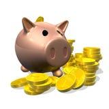 gruppen 3d coins den piggy illustrationen framför stock illustrationer