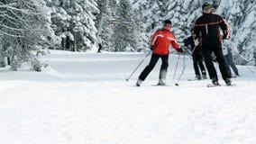 Gruppen av äldre folk tycker om att skida i vinter