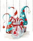 Gruppen av abstrakta julträd och exponeringsglas skorrar med godisrottingar, feriebevekelsegrunden, illustration royaltyfri illustrationer