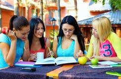Gruppen av deltagare studerar för examen, utomhus Royaltyfri Bild