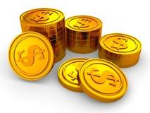 Gruppen av den guld- dollaren coins på vit bakgrund Arkivbilder