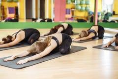 Gruppen av den praktiserande yogakursen för ungt sportigt folk med instruktören som sitter i den Balasana övningen, barnet posera arkivfoto