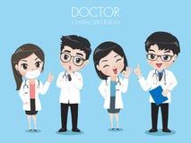 Gruppen av doktorer bär den enhetliga arbetslabbet stock illustrationer
