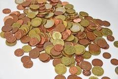 Gruppen av euro myntar pengar Arkivbilder