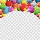 Gruppen av glansigt helium för färg sväller med den isolerade tomma sidan stock illustrationer