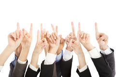 Gruppen av händer för affärsfolk pekar uppåt tillsammans Arkivbild