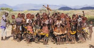 Gruppen av Hamar kvinnor dansar under tjurbanhoppningceremoni Turmi Omo dal, Etiopien Arkivbild