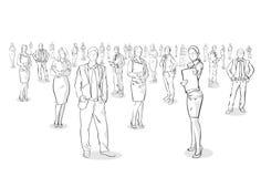 Gruppen av handen dragit affärsfolk, skissar Businesspeople stock illustrationer